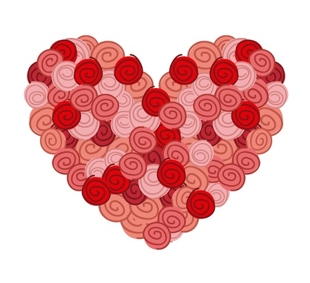 cute heart with roses over white background. vector illustration Stock Vector - 16996732