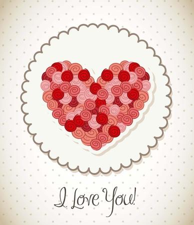 valentines day card over vintage background. vector illustration Stock Vector - 16997246