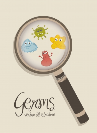 sic: cute germs over beige background. vector illustration