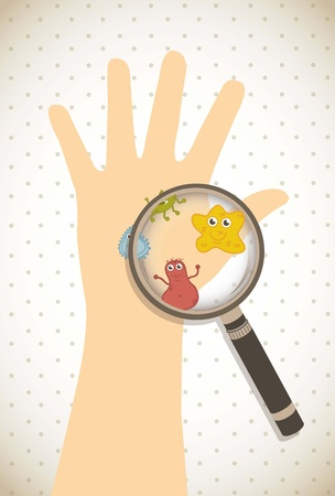 bacteriological: cute germs over beige background. vector illustration