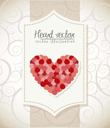 valentines day card over vintage background. vector illustration Stock Vector - 16997319