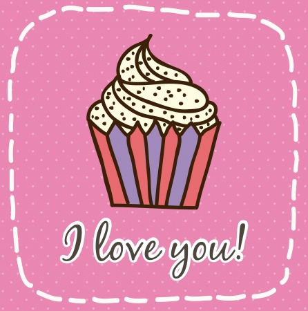 happy day card with cup cake over pink background. vector Vector