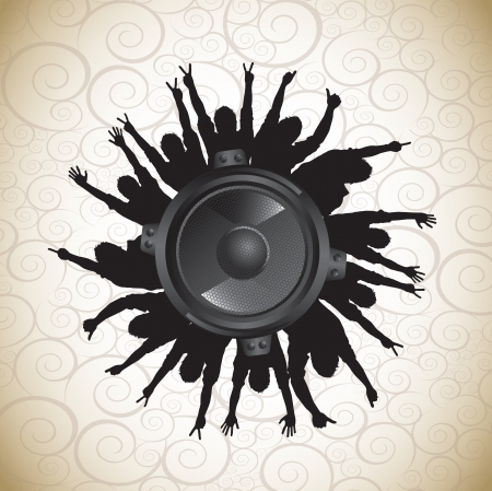speaker with sound over vintage background vector Stock Vector - 17349407