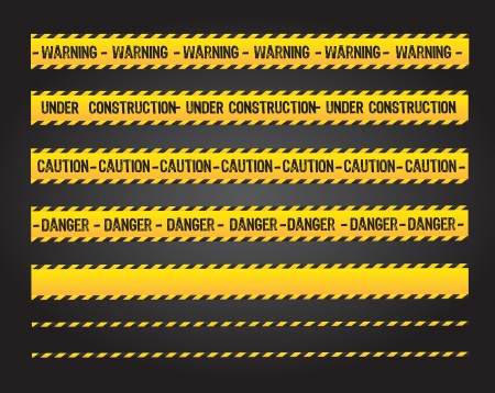 hazard tape: caution lines over black background vector illustration Illustration