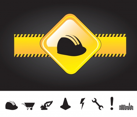 under construction sign with man: Icons of under construction over black background vector illustration