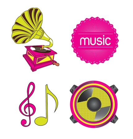 Musical icons over white background vector illustration Stock Vector - 17349165