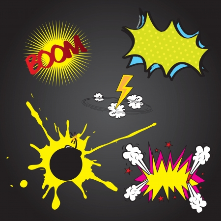 Set boom comic over black background vector illustration Stock Vector - 17349229