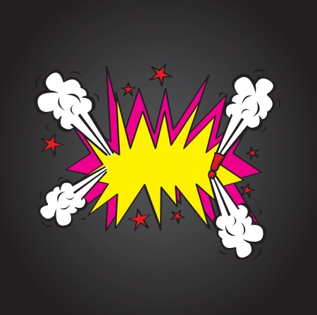 Explosion comic cloud over  black background vector illustration Vector