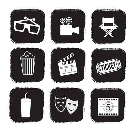 collectible: cinema icons over white background vector illustration