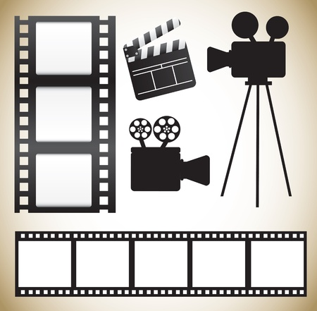 film title: Cinema icons over white background vector illustration