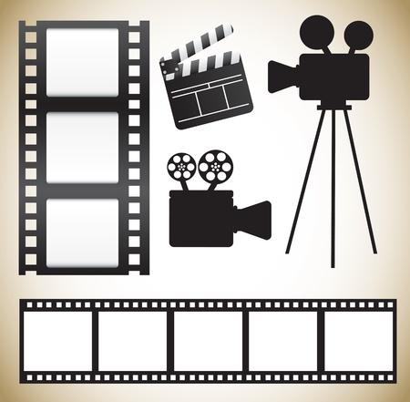 film editing: Cinema icons over white background vector illustration
