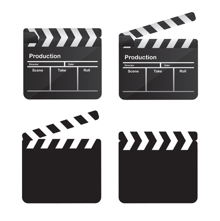 collectible: collection of clappers over white background vector illustration Illustration