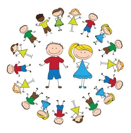 kinder: uniti childrens su bianco illustrazione vettoriale sfondo Vettoriali
