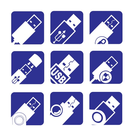usb icons over white and blue background vector illustration Stock Vector - 17349208
