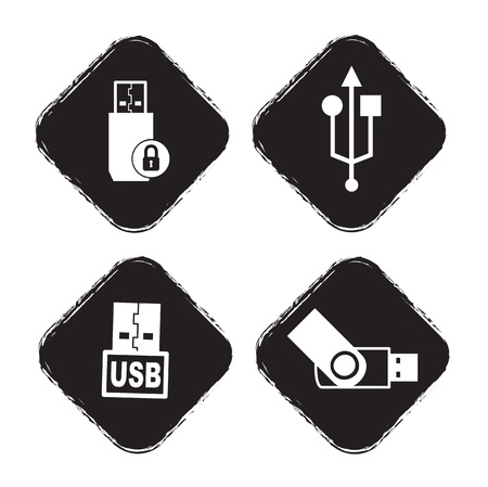 usb icons over white background vector illustration Stock Vector - 17349444
