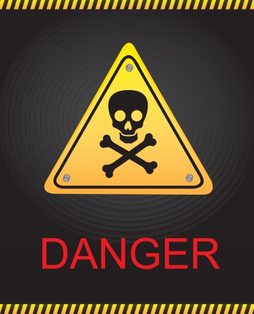 Signal of danger with a skull over black background Vector