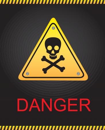 Signal of danger with a skull over black background Illustration