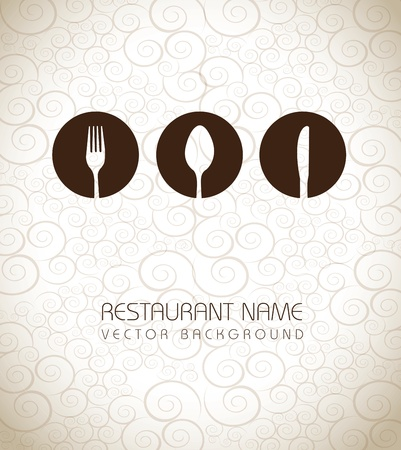 fork: Restaurant icons over vintage background vector illustration