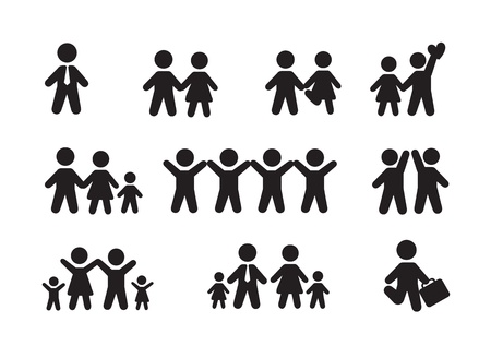 people: Silhouette people icons over white background vector illustration