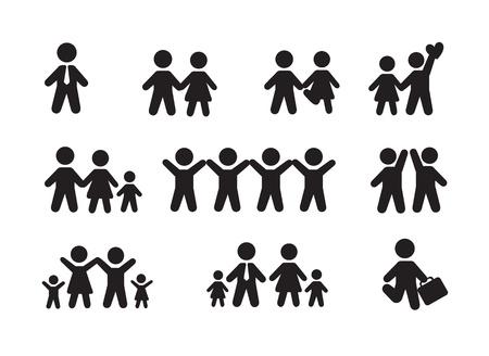 Silueta de la gente más iconos ilustración vectorial de fondo blanco