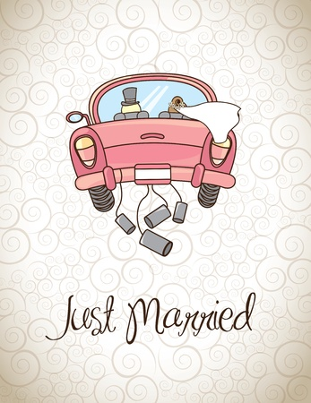 just married: Just married sobre ilustraci�n de la vendimia del vector del fondo