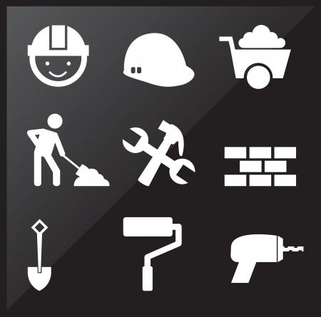 under construction icons over black background Vector