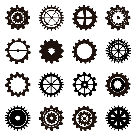gears silhouette over white background. vector illustration