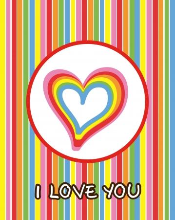 love card with heart and rainbow. vector illustration Stock Vector - 17349162