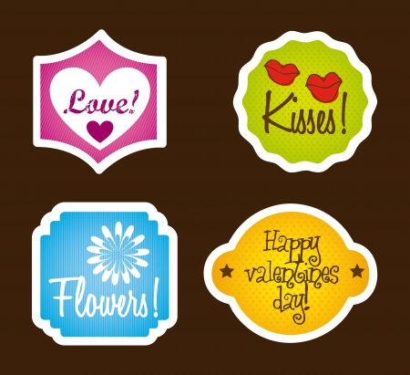 love labels over brown background, cute. vector illustration Stock Vector - 17349349