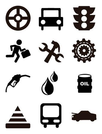 onderhoud auto: auto-onderhoud en reparatie pictogrammen op witte achtergrond. vector illustratie Stock Illustratie