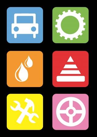 onderhoud auto: auto-onderhoud en reparatie pictogrammen op zwarte achtergrond. vector illustratie