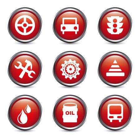 onderhoud auto: auto-onderhoud en reparatie pictogrammen op knoppen achtergrond. vector Stock Illustratie