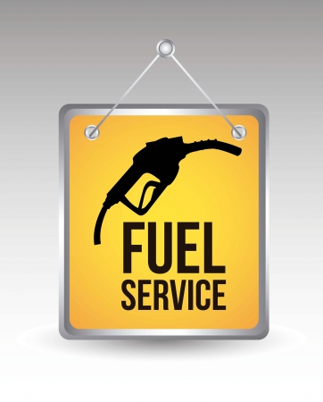 petrol pump: fuel icon over yellow annoucement. vector illustration