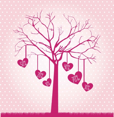 tree with hearts over pink background. vector illustration Stock Vector - 17349423