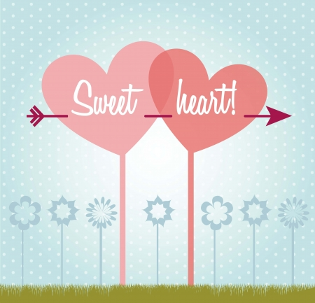 love card with heart over blue background. vector illustration Stock Vector - 17349393