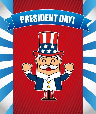 labor strong: presidents day background, uncle sam. vector illustration