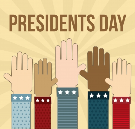 annoucement: presidents day annoucement with hands. vector illustration