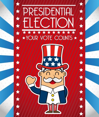 labor strong: presidents day with uncle sam, united states. vector illustration Illustration