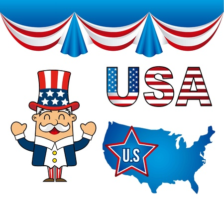 united states symbols over white backgroud. vector illustration Stock Vector - 17349381