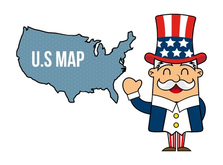 uncle sam cartoon isolated over white background. vector Vector