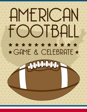annoucement: american football over vintage background. vector illustration