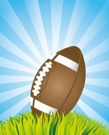 american football over landscape background. vector illustration Stock Vector - 17349535