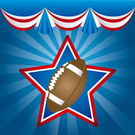 courtain: american football over blue background. vector illustration