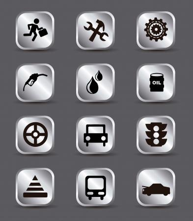 onderhoud auto: auto-onderhoud en reparatie iconen over grijze achtergrond. vector illustratie Stock Illustratie