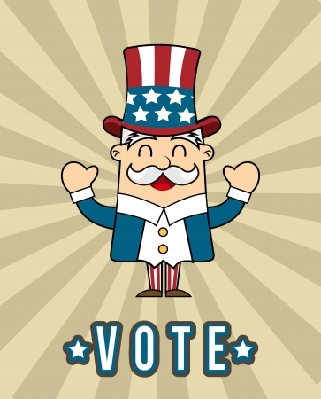 uncle sam cartoon over vintage background. vector illustration Vector
