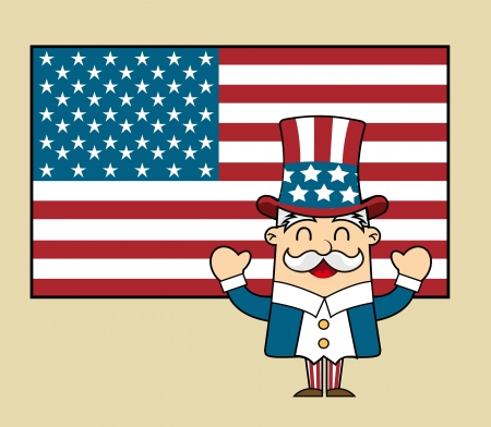 united states with uncle sam over vintage background. vector Stock Vector - 17349199