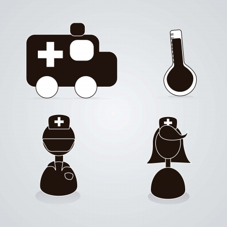 Medical icons silhouettes of ambulance, thermometer, specialists