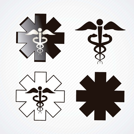 Medical icons silhouette on grey background.vector illustration Çizim