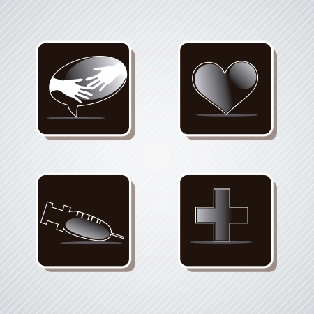 Medical icons silhouette on black box. vector illustration