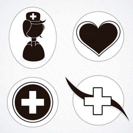 Black and white medical icons silhouettes. vector illustration  Çizim
